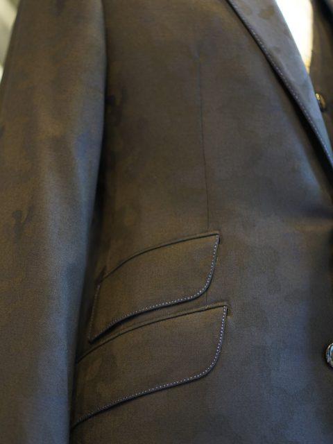 カモフラ濃紺ジャケット&ベスト wool100%